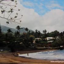 Palmen und Häuser an einem Strand auf Maui