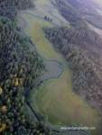 Zwischen zwei Wäldern fließt ein Bach durch eine Wiese