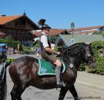 Ein Mann in Lederhose und Gamsbart am Hut reitet auf einem schwarzen Pferd