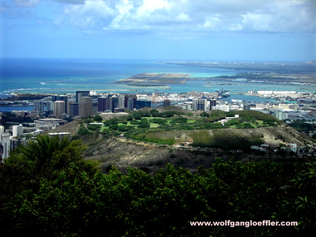 view over Punchbowl Crater and the airport Honolulu
