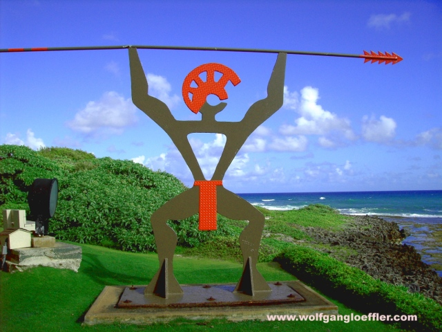 Warrior in the gardens of the Turtle Bay Resort