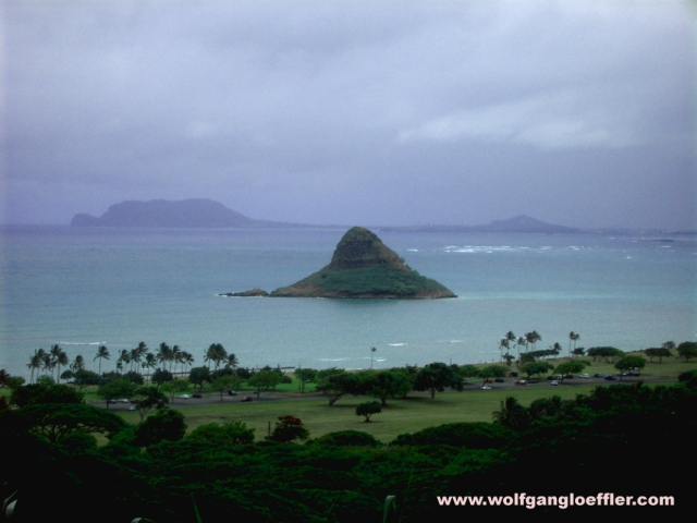 Chinaman's Hat, a small islan in the bay