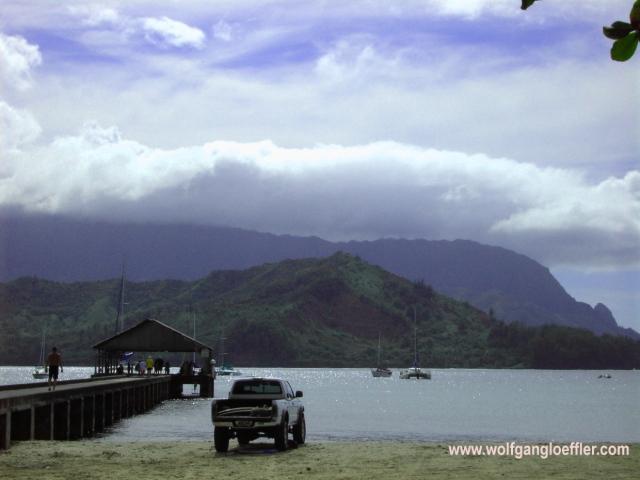 Blick über die Hanalei Bay bei Princeville
