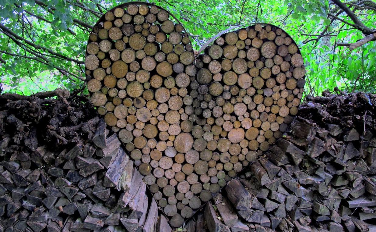 Ein herzförmiger Metallrahmen ist mit Holzscheiten gefüllt