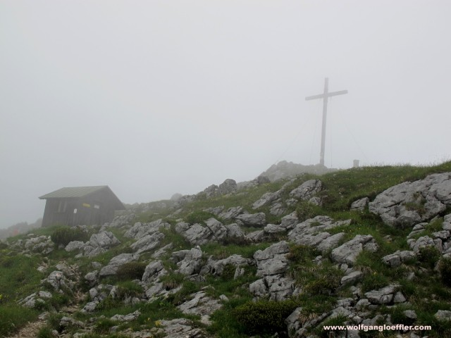 summit of the benediktenwand in fog